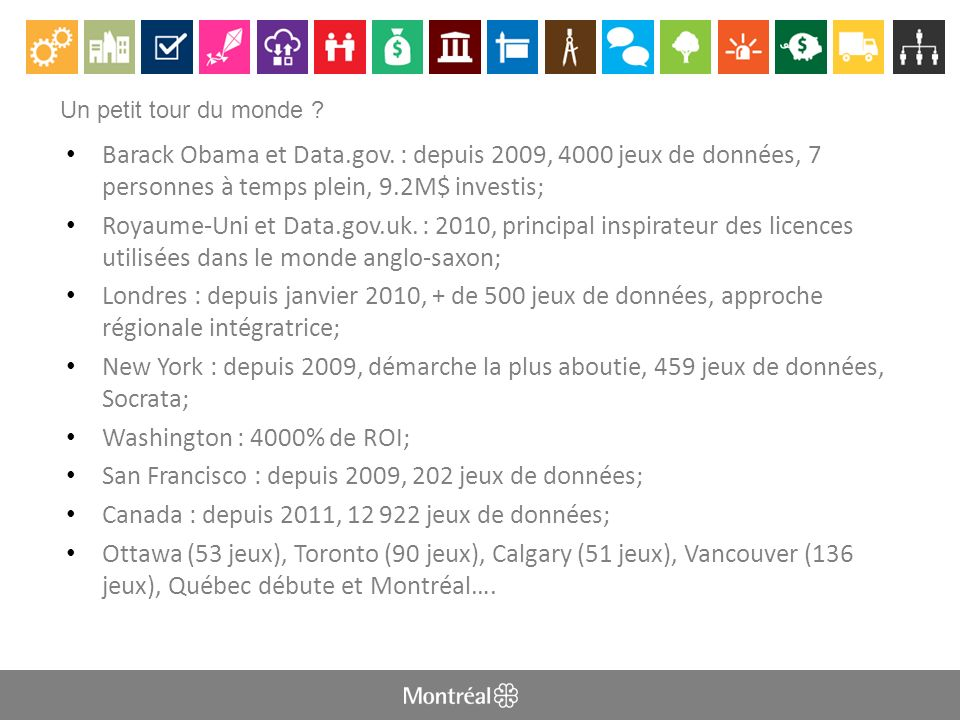 QUESTIONS ET COMMENTAIRES http://donnees.ville.montreal.qc.ca donneesouvertes@ville.montreal.qc.ca Twitter : @MTL_DO Groupe LinkedIn GTDO Montréal: http://www.linkedin.com/groups?gid=3863497