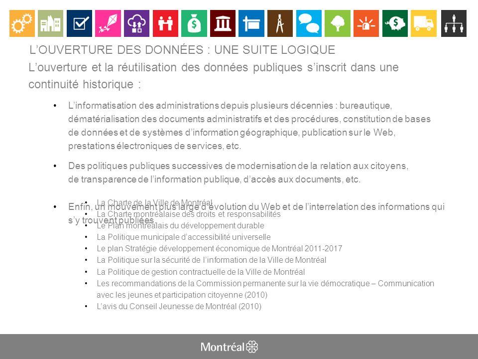 LA VILLE DE MONTRÉAL OUVRE SON CAPITAL NUMÉRIQUE Politique sur louverture des données de la Ville de Montréal basée sur les dix principes-guides adoptés (oct 2011)