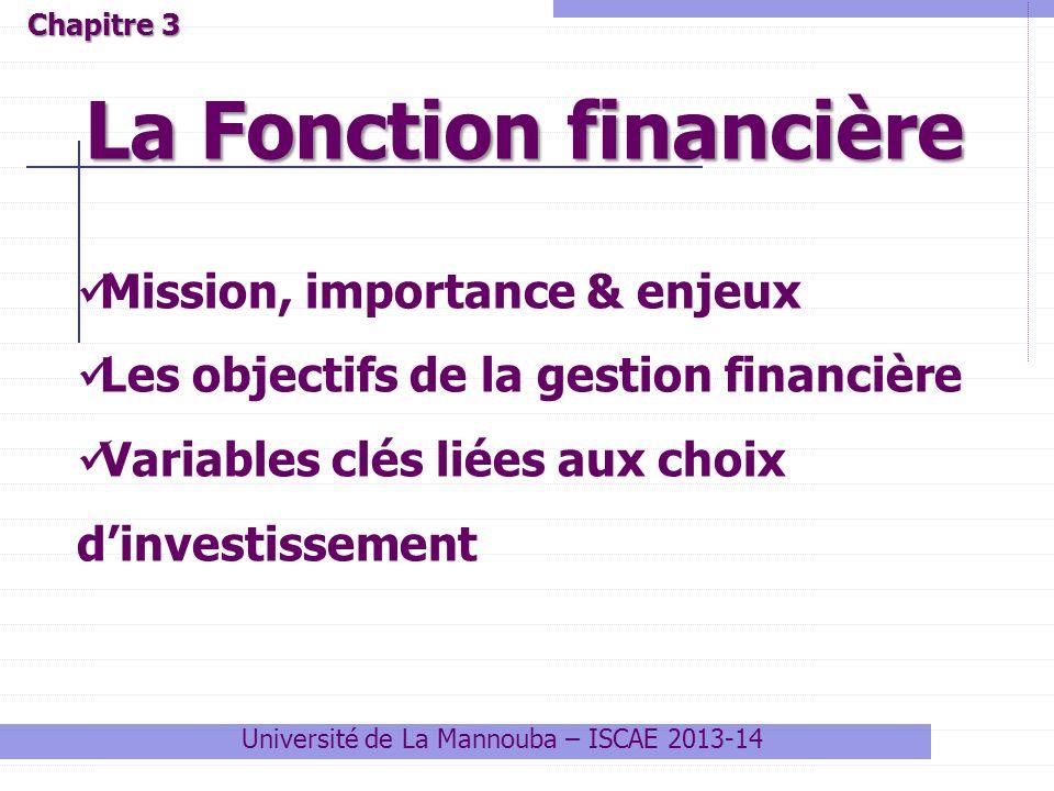 Université de La Mannouba – ISCAE 2013-14 La Fonction financière Chapitre 3 Mission, importance & enjeux Les objectifs de la gestion financière Variables clés liées aux choix dinvestissement