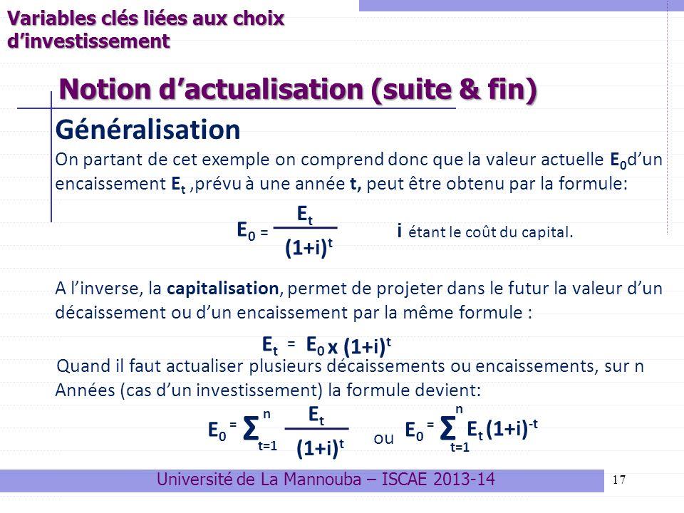 17 Généralisation On partant de cet exemple on comprend donc que la valeur actuelle E 0 dun encaissement E t,prévu à une année t, peut être obtenu par la formule: = i étant le coût du capital.