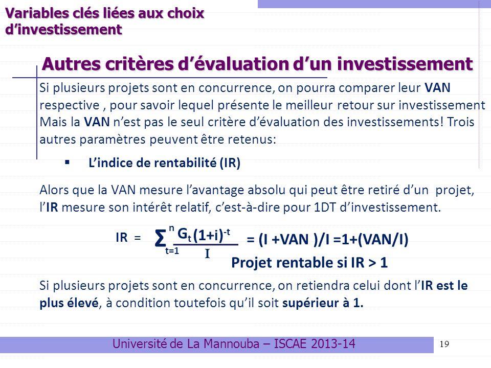 19 Si plusieurs projets sont en concurrence, on pourra comparer leur VAN respective, pour savoir lequel présente le meilleur retour sur investissement Mais la VAN nest pas le seul critère dévaluation des investissements.