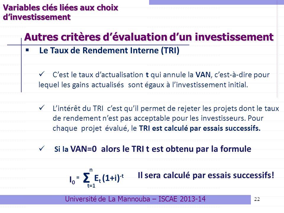 22 Le Taux de Rendement Interne (TRI) Cest le taux dactualisation t qui annule la VAN, cest-à-dire pour lequel les gains actualisés sont égaux à linvestissement initial.