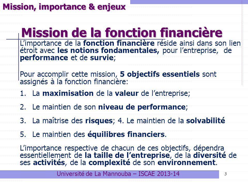 Mission de la fonction financière 3 Mission, importance & enjeux Limportance de la fonction financière réside ainsi dans son lien étroit avec les notions fondamentales, pour lentreprise, de performance et de survie; Pour accomplir cette mission, 5 objectifs essentiels sont assignés à la fonction financière: 1.La maximisation de la valeur de lentreprise; 2.Le maintien de son niveau de performance; 3.La maîtrise des risques; 4.