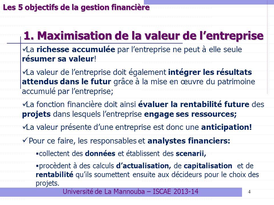 1. Maximisation de la valeur de lentreprise 4 Les 5 objectifs de la gestion financière La richesse accumulée par lentreprise ne peut à elle seule résu