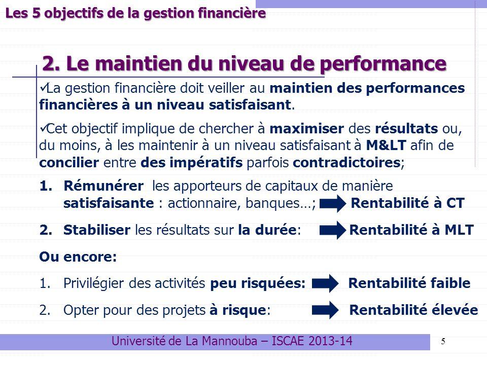 2. Le maintien du niveau de performance 5 La gestion financière doit veiller au maintien des performances financières à un niveau satisfaisant. Cet ob