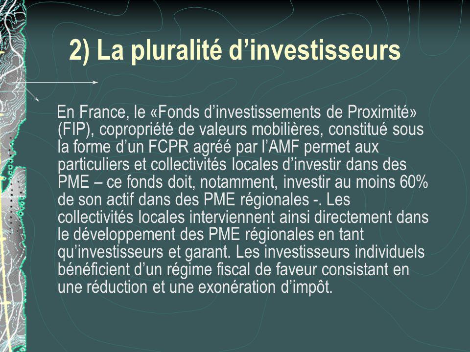 2) La pluralité dinvestisseurs En France, le «Fonds dinvestissements de Proximité» (FIP), copropriété de valeurs mobilières, constitué sous la forme dun FCPR agréé par lAMF permet aux particuliers et collectivités locales dinvestir dans des PME – ce fonds doit, notamment, investir au moins 60% de son actif dans des PME régionales -.