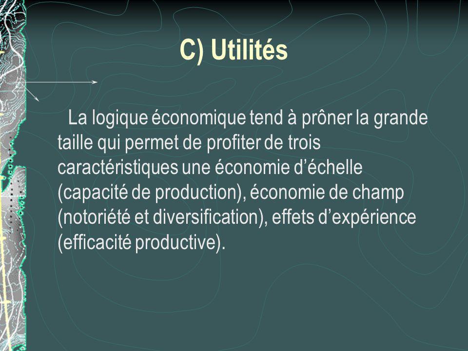 C) Utilités La logique économique tend à prôner la grande taille qui permet de profiter de trois caractéristiques une économie déchelle (capacité de production), économie de champ (notoriété et diversification), effets dexpérience (efficacité productive).