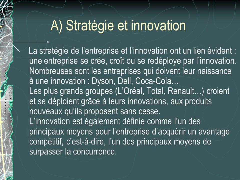 A) Stratégie et innovation La stratégie de lentreprise et linnovation ont un lien évident : une entreprise se crée, croît ou se redéploye par linnovation.