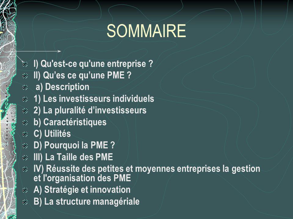 SOMMAIRE I) Qu est-ce qu une entreprise . II) Ques ce quune PME .