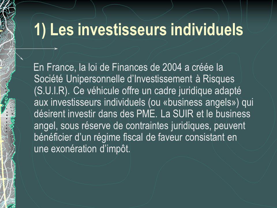 1) Les investisseurs individuels En France, la loi de Finances de 2004 a créée la Société Unipersonnelle dInvestissement à Risques (S.U.I.R).