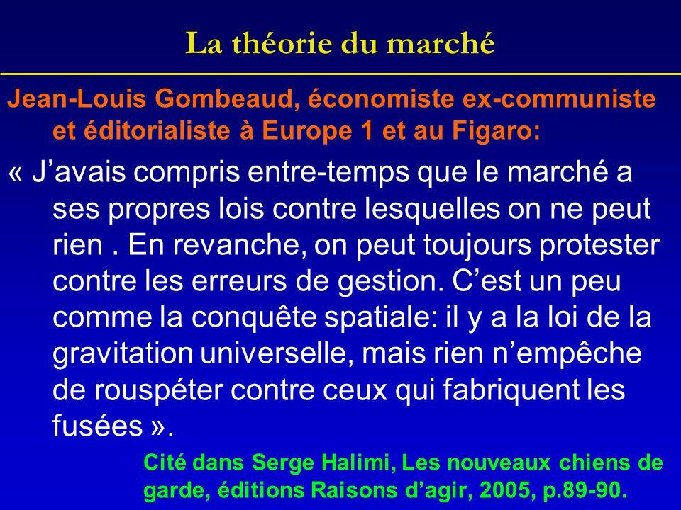La théorie du marché Jean-Louis Gombeaud, économiste ex-communiste et éditorialiste à Europe 1 et au Figaro: « Javais compris entre-temps que le marché a ses propres lois contre lesquelles on ne peut rien.