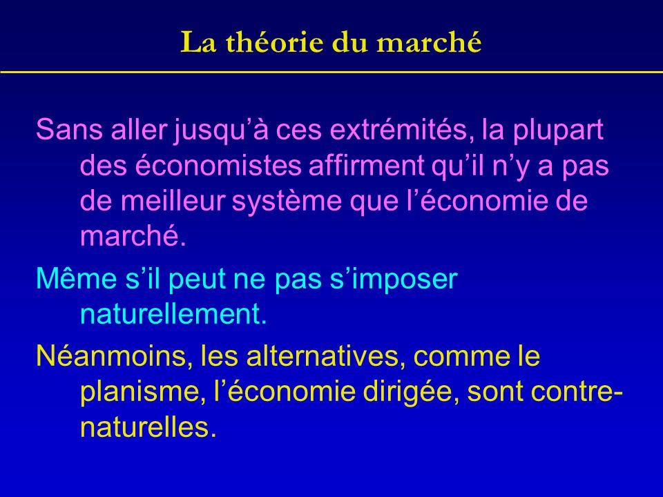 La théorie du marché Sans aller jusquà ces extrémités, la plupart des économistes affirment quil ny a pas de meilleur système que léconomie de marché.