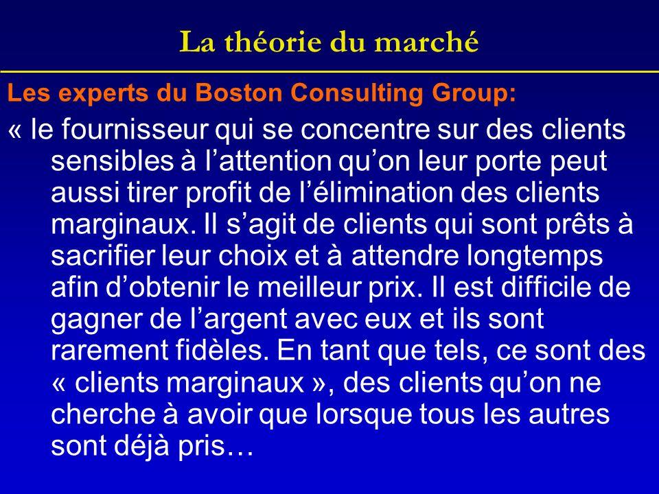 La théorie du marché Les experts du Boston Consulting Group: « le fournisseur qui se concentre sur des clients sensibles à lattention quon leur porte peut aussi tirer profit de lélimination des clients marginaux.
