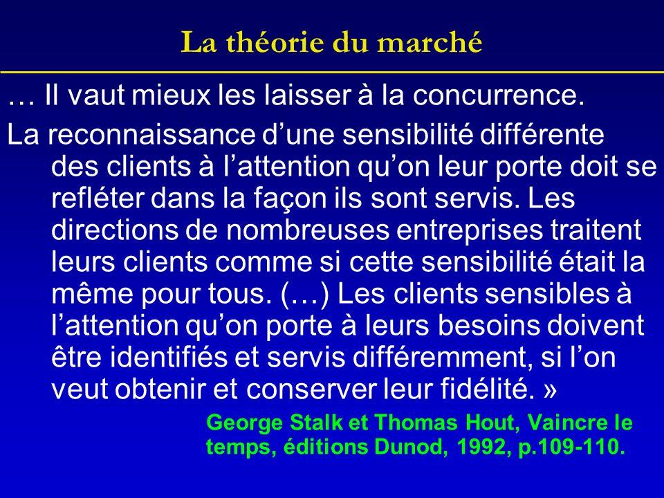 La théorie du marché … Il vaut mieux les laisser à la concurrence.