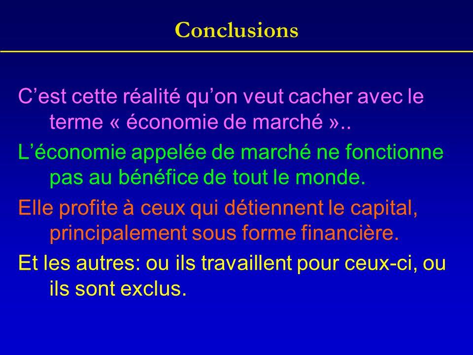 Conclusions Cest cette réalité quon veut cacher avec le terme « économie de marché »..