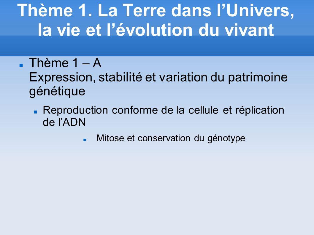Thème 1. La Terre dans lUnivers, la vie et lévolution du vivant Thème 1 – A Expression, stabilité et variation du patrimoine génétique Reproduction co