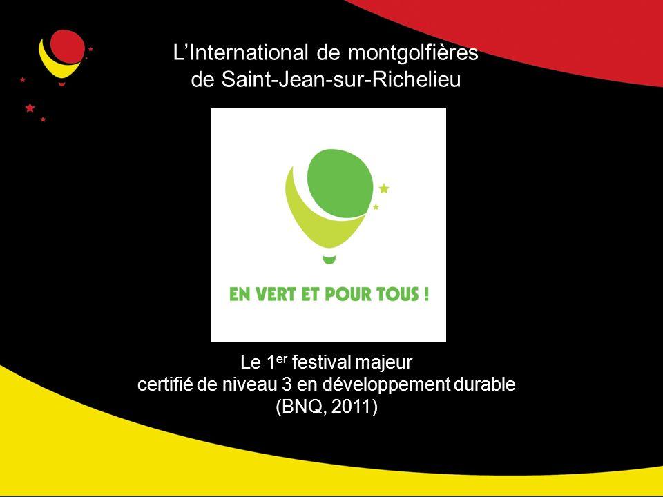 LInternational de montgolfières de Saint-Jean-sur-Richelieu Le 1 er festival majeur certifié de niveau 3 en développement durable (BNQ, 2011)