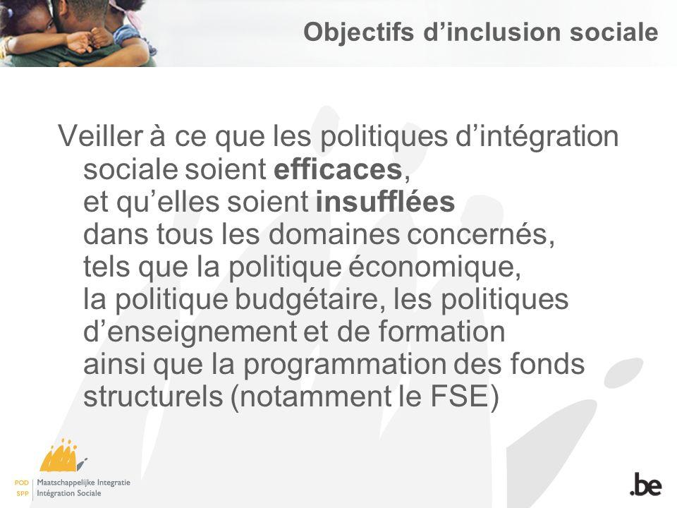 Objectifs dinclusion sociale Veiller à ce que les politiques dintégration sociale soient efficaces, et quelles soient insufflées dans tous les domaines concernés, tels que la politique économique, la politique budgétaire, les politiques denseignement et de formation ainsi que la programmation des fonds structurels (notamment le FSE)