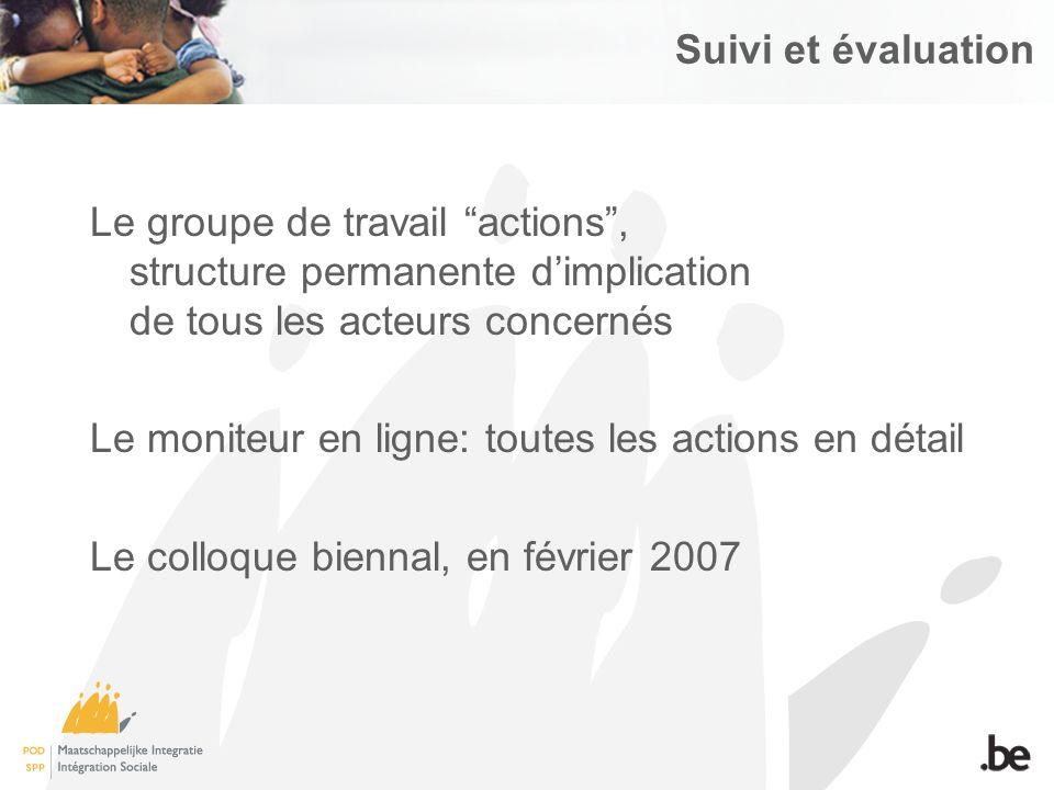 Le groupe de travail actions, structure permanente dimplication de tous les acteurs concernés Le moniteur en ligne: toutes les actions en détail Le colloque biennal, en février 2007 Suivi et évaluation