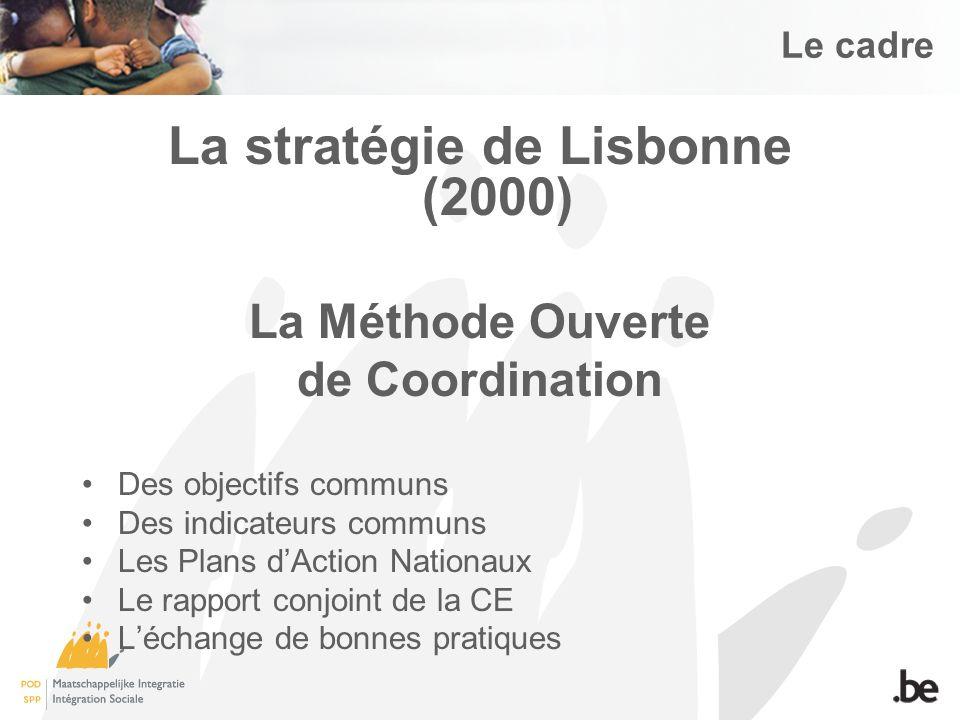 Le cadre La stratégie de Lisbonne (2000) La Méthode Ouverte de Coordination Des objectifs communs Des indicateurs communs Les Plans dAction Nationaux Le rapport conjoint de la CE Léchange de bonnes pratiques