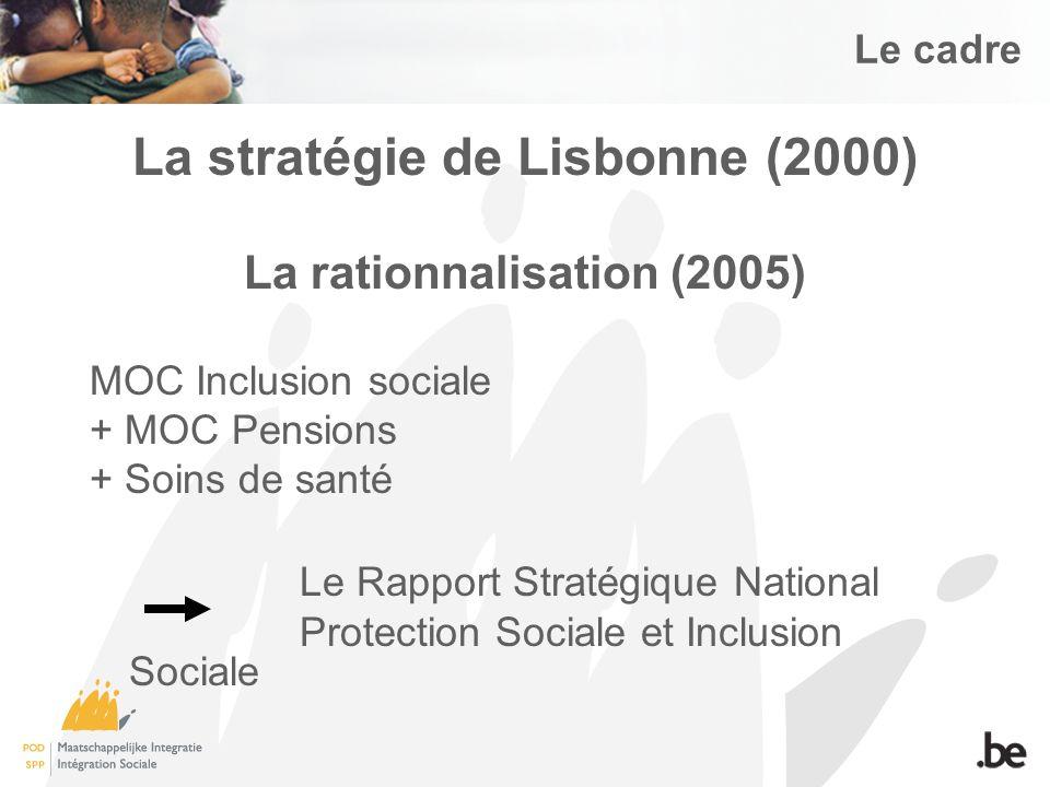 Le cadre La stratégie de Lisbonne (2000) La rationnalisation (2005) MOC Inclusion sociale + MOC Pensions + Soins de santé Le Rapport Stratégique National Protection Sociale et Inclusion Sociale