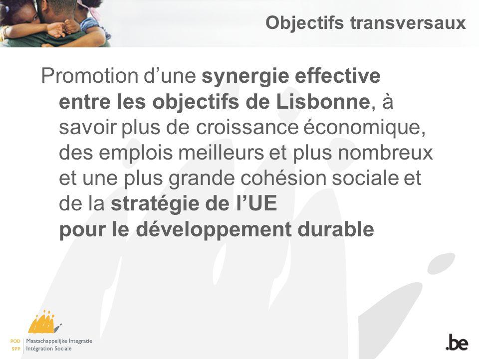 Objectifs transversaux Promotion dune synergie effective entre les objectifs de Lisbonne, à savoir plus de croissance économique, des emplois meilleurs et plus nombreux et une plus grande cohésion sociale et de la stratégie de lUE pour le développement durable