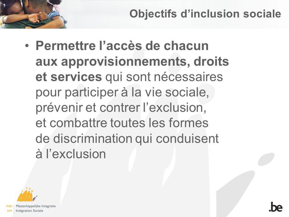 Objectifs dinclusion sociale Permettre laccès de chacun aux approvisionnements, droits et services qui sont nécessaires pour participer à la vie sociale, prévenir et contrer lexclusion, et combattre toutes les formes de discrimination qui conduisent à lexclusion
