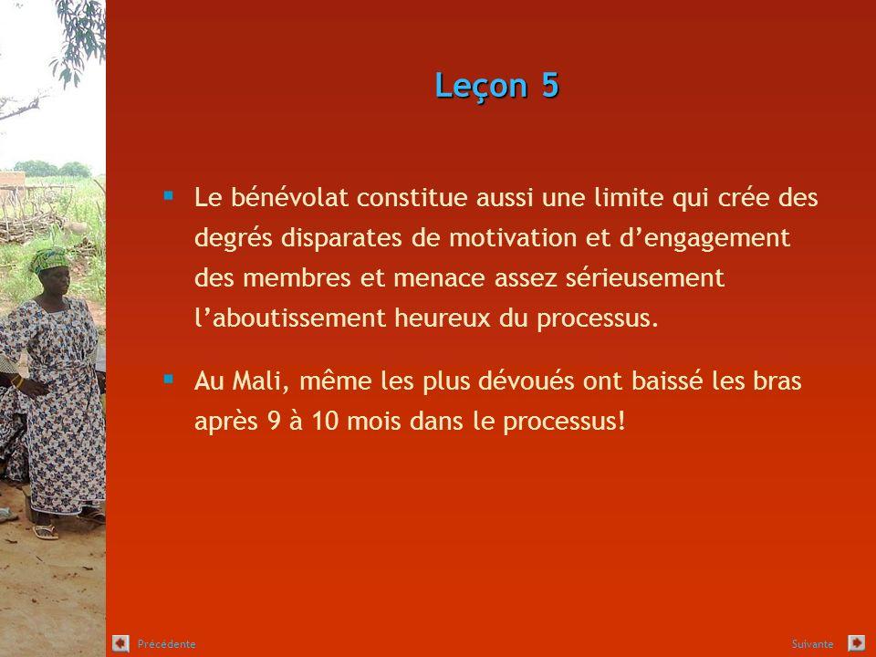 Leçon 5 Le bénévolat constitue aussi une limite qui crée des degrés disparates de motivation et dengagement des membres et menace assez sérieusement laboutissement heureux du processus.