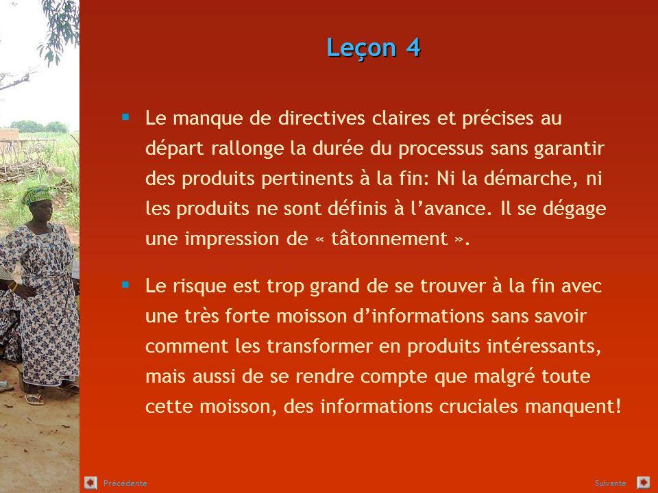 Leçon 4 Le manque de directives claires et précises au départ rallonge la durée du processus sans garantir des produits pertinents à la fin: Ni la démarche, ni les produits ne sont définis à lavance.