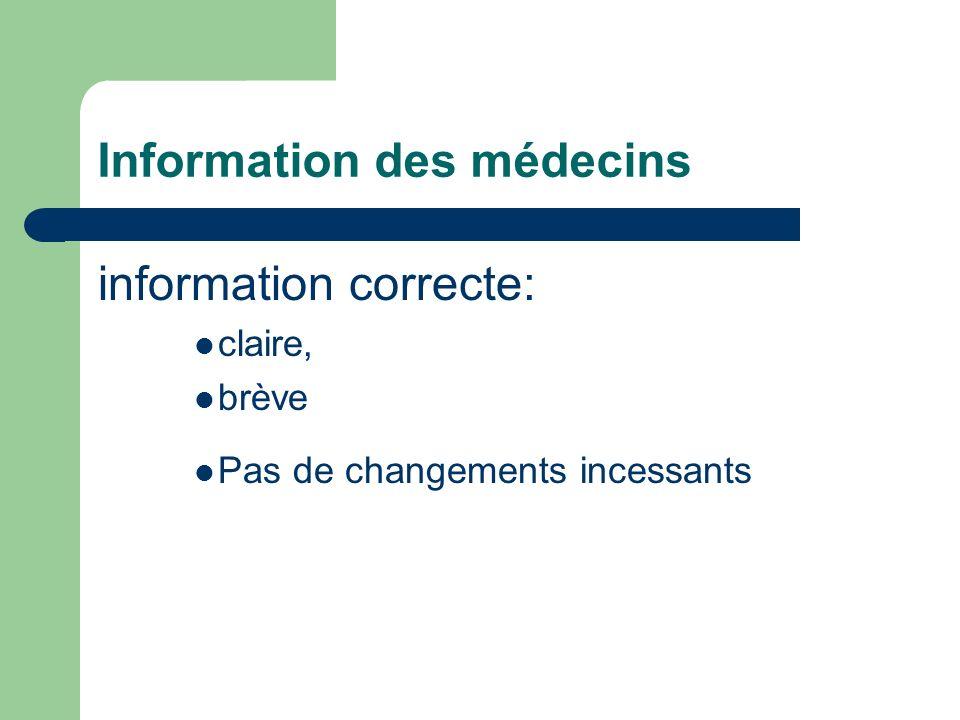 Information des médecins information correcte: claire, brève Pas de changements incessants