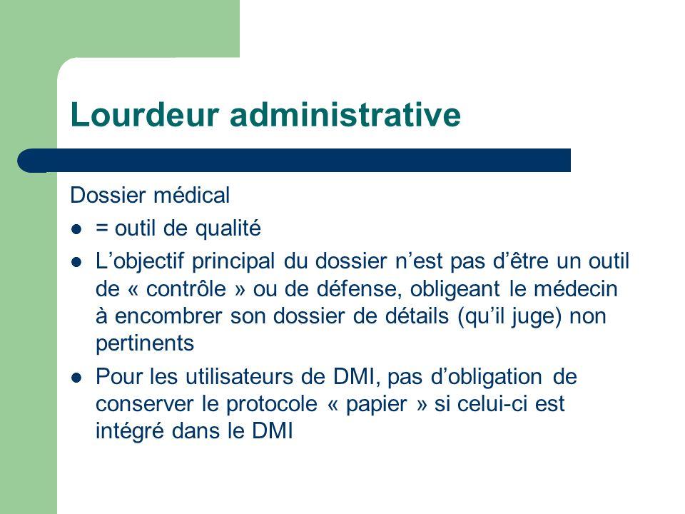 Lourdeur administrative Dossier médical = outil de qualité Lobjectif principal du dossier nest pas dêtre un outil de « contrôle » ou de défense, obligeant le médecin à encombrer son dossier de détails (quil juge) non pertinents Pour les utilisateurs de DMI, pas dobligation de conserver le protocole « papier » si celui-ci est intégré dans le DMI