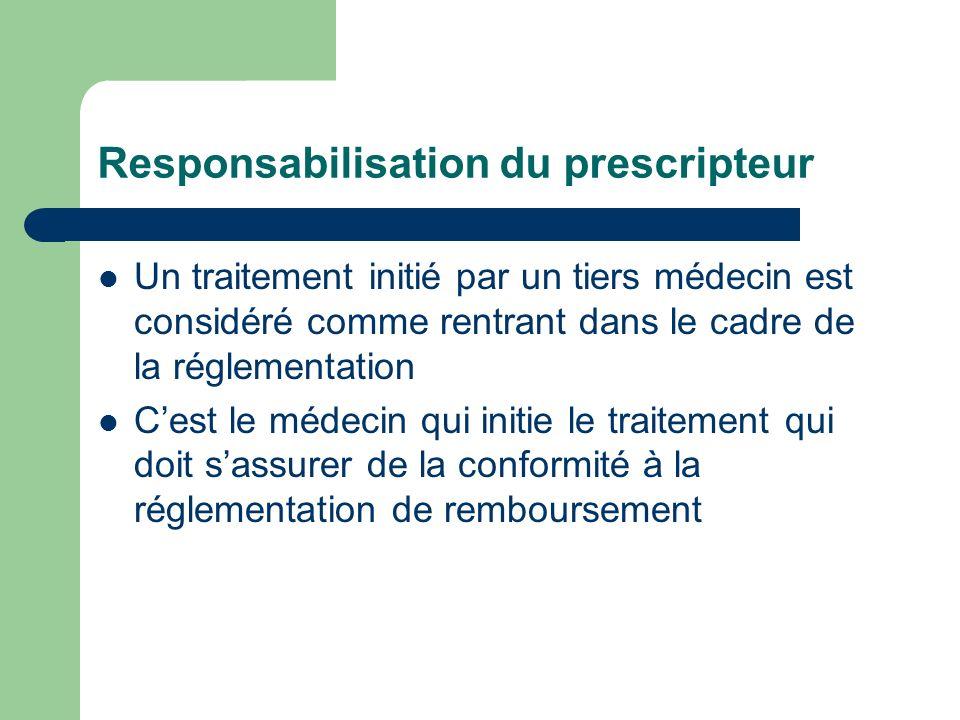 Responsabilisation du prescripteur Un traitement initié par un tiers médecin est considéré comme rentrant dans le cadre de la réglementation Cest le médecin qui initie le traitement qui doit sassurer de la conformité à la réglementation de remboursement