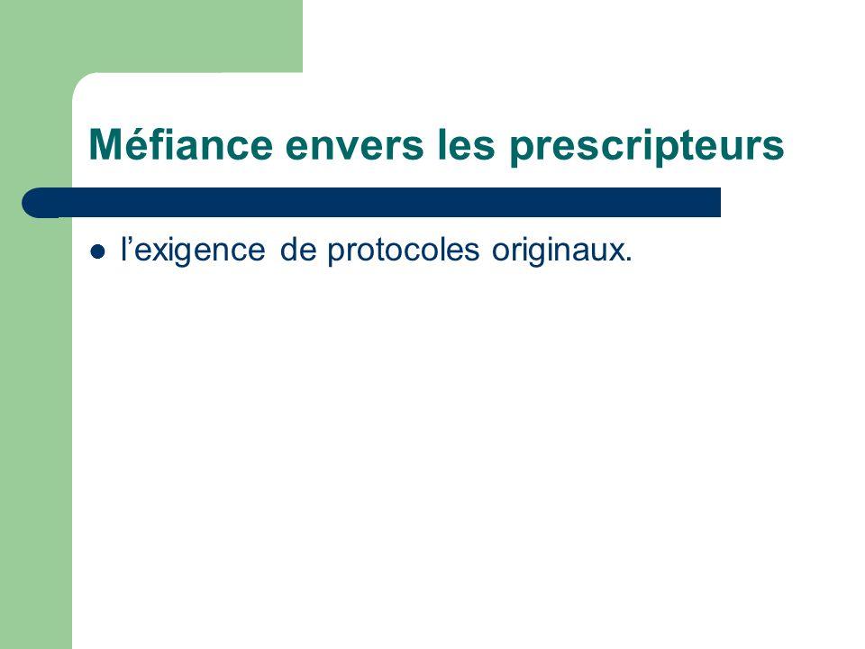 Méfiance envers les prescripteurs lexigence de protocoles originaux.