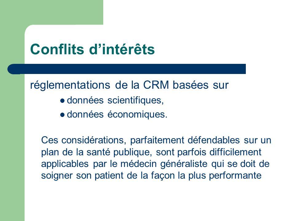 Conflits dintérêts réglementations de la CRM basées sur données scientifiques, données économiques.
