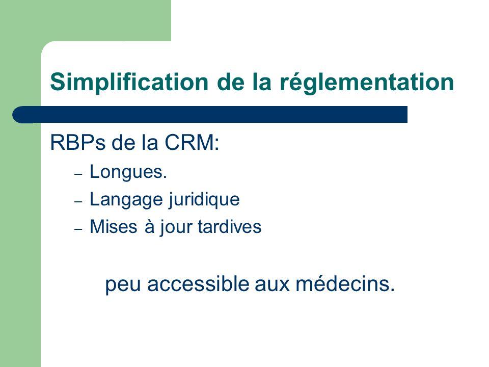 Simplification de la réglementation RBPs de la CRM: – Longues.