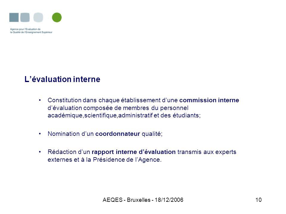 AEQES - Bruxelles - 18/12/200610 Lévaluation interne Constitution dans chaque établissement dune commission interne dévaluation composée de membres du