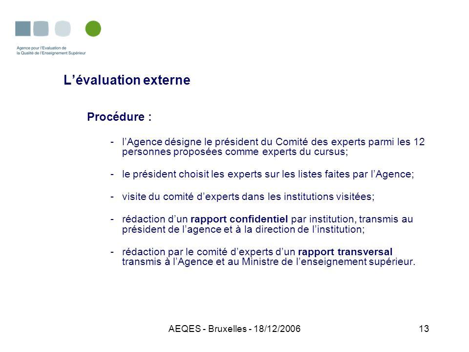 AEQES - Bruxelles - 18/12/200613 Lévaluation externe Procédure : -lAgence désigne le président du Comité des experts parmi les 12 personnes proposées