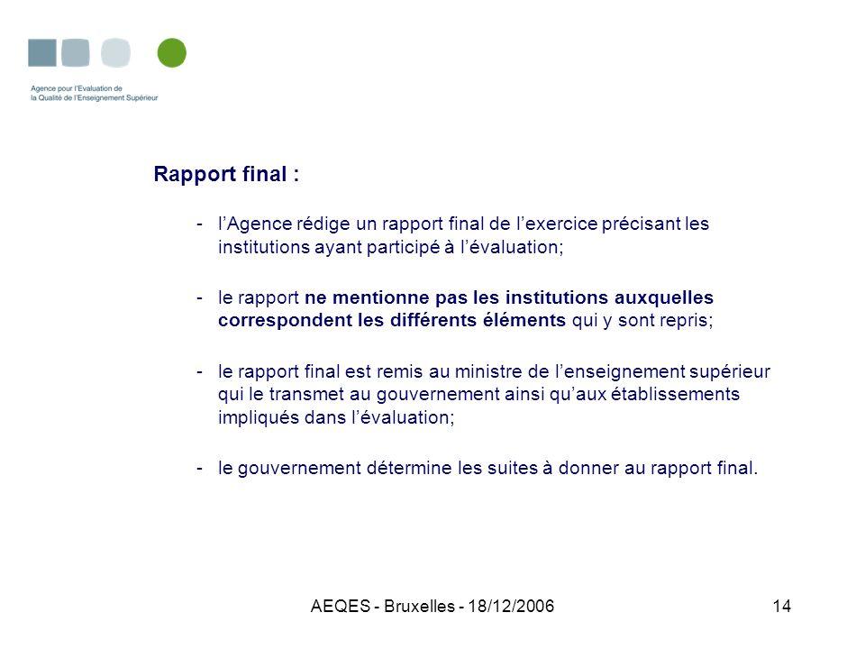 AEQES - Bruxelles - 18/12/200614 Rapport final : -lAgence rédige un rapport final de lexercice précisant les institutions ayant participé à lévaluatio