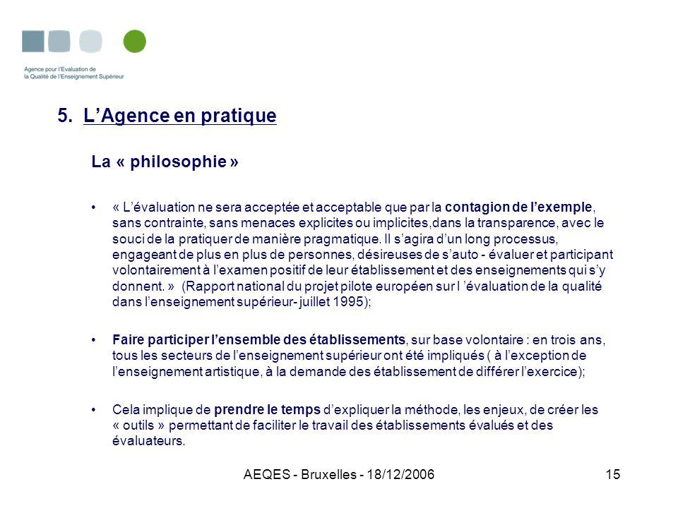 AEQES - Bruxelles - 18/12/200615 5. LAgence en pratique La « philosophie » « Lévaluation ne sera acceptée et acceptable que par la contagion de lexemp
