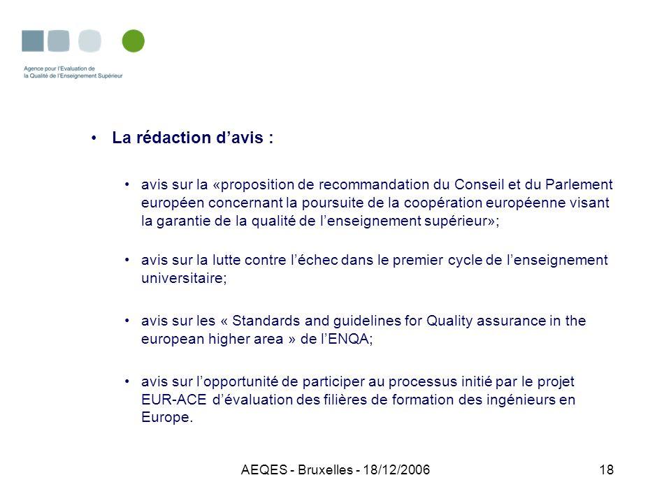 AEQES - Bruxelles - 18/12/200618 La rédaction davis : avis sur la «proposition de recommandation du Conseil et du Parlement européen concernant la pou