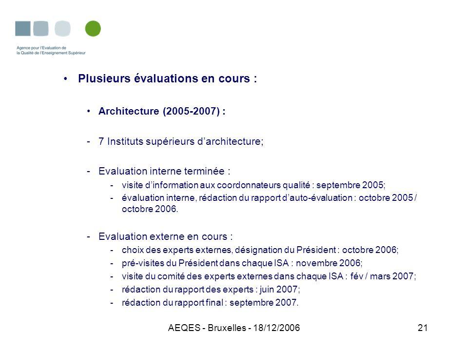AEQES - Bruxelles - 18/12/200621 Plusieurs évaluations en cours : Architecture (2005-2007) : -7 Instituts supérieurs darchitecture; -Evaluation intern