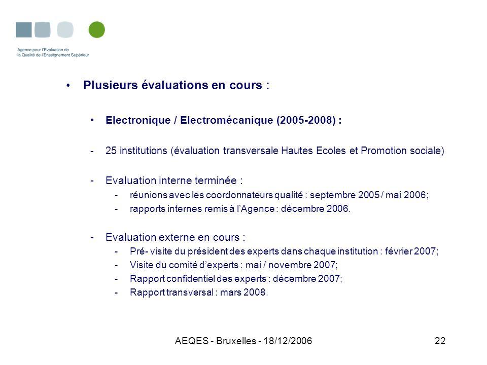 AEQES - Bruxelles - 18/12/200622 Plusieurs évaluations en cours : Electronique / Electromécanique (2005-2008) : -25 institutions (évaluation transvers