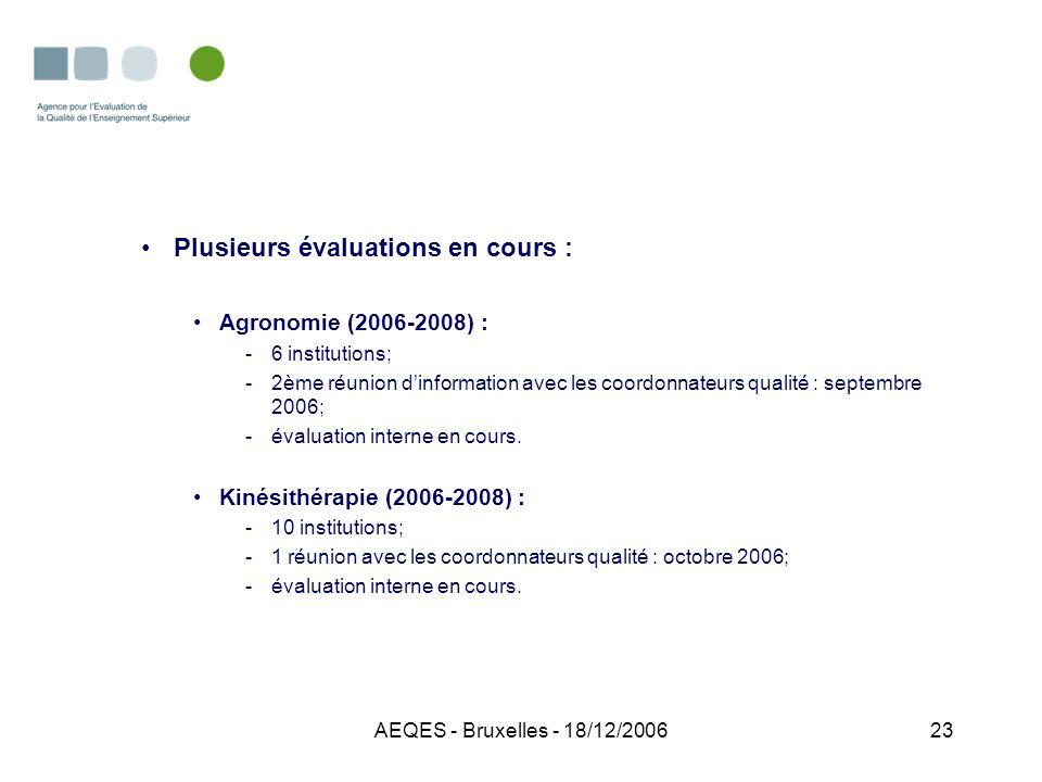 AEQES - Bruxelles - 18/12/200623 Plusieurs évaluations en cours : Agronomie (2006-2008) : -6 institutions; -2ème réunion dinformation avec les coordon