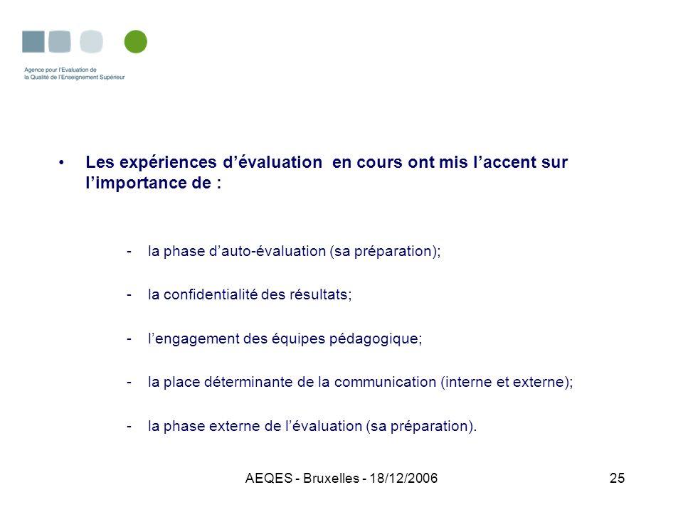 AEQES - Bruxelles - 18/12/200625 Les expériences dévaluation en cours ont mis laccent sur limportance de : -la phase dauto-évaluation (sa préparation)