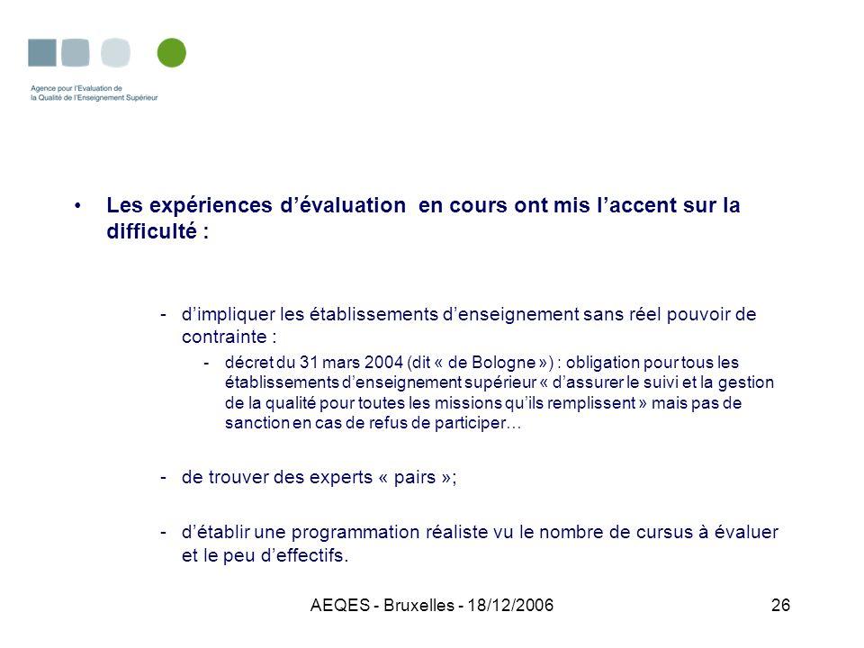 AEQES - Bruxelles - 18/12/200626 Les expériences dévaluation en cours ont mis laccent sur la difficulté : -dimpliquer les établissements denseignement