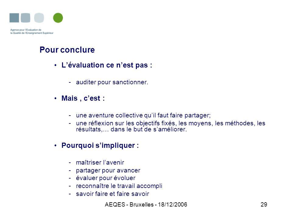 AEQES - Bruxelles - 18/12/200629 Pour conclure Lévaluation ce nest pas : -auditer pour sanctionner. Mais, cest : -une aventure collective quil faut fa