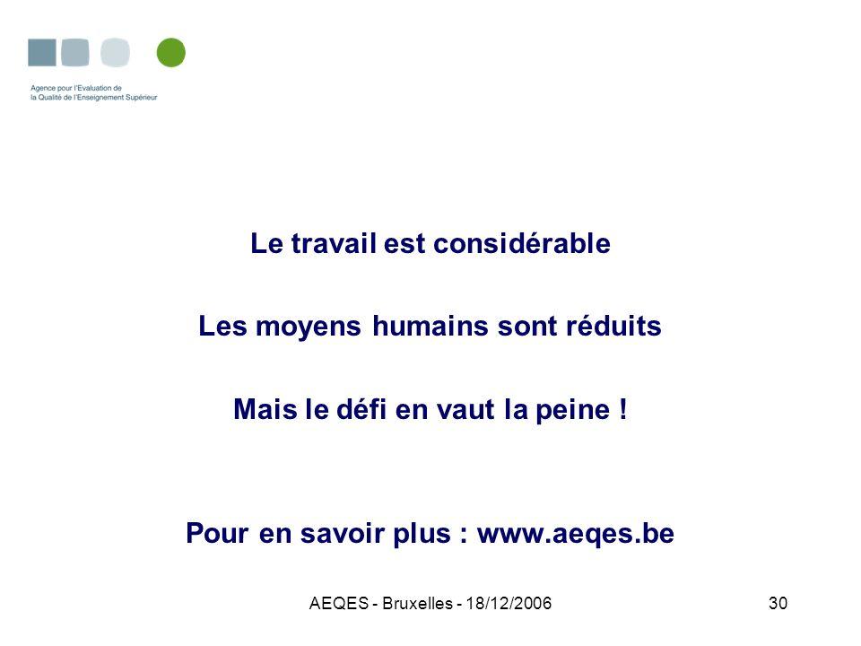 AEQES - Bruxelles - 18/12/200630 Le travail est considérable Les moyens humains sont réduits Mais le défi en vaut la peine ! Pour en savoir plus : www