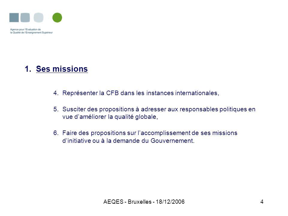 AEQES - Bruxelles - 18/12/20065 2.Sa composition -25 membres effectifs avec voix délibérative (25 suppléants) nommés pour 4 ans, mandat renouvelable une fois; -1 secrétaire (fonctionnaire de la CF); -1 représentant du Ministre de lEnseignement supérieur avec voix consultative.