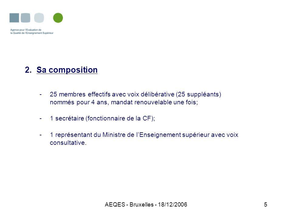 AEQES - Bruxelles - 18/12/20065 2.Sa composition -25 membres effectifs avec voix délibérative (25 suppléants) nommés pour 4 ans, mandat renouvelable u