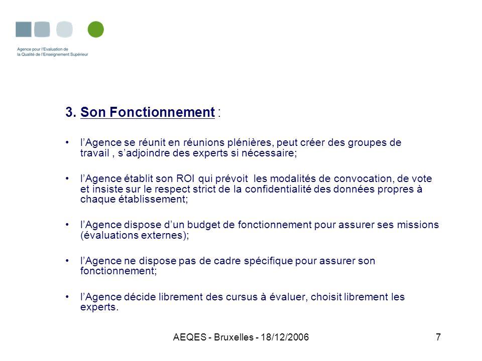 AEQES - Bruxelles - 18/12/200628 Et demain -Stabiliser les acquis; -Création dune culture de lévaluation de la qualité dans lenseignement supérieur; -Assurer la visibilité de lAgence et sa crédibilité aux niveaux national et international; -Développer des partenariats avec dautres agences européennes; -Définir les modalités de suivi des procédures dévaluation réalisées; -Appliquer les procédures et lignes directrices développées par le réseau ENQA.